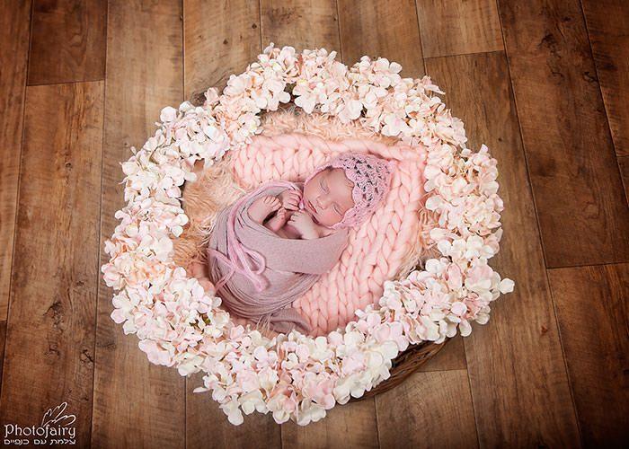 צילומי ניובורן עם פרחים- הכל מצולם אמיתי ולא שתול
